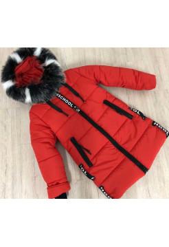Удлиненная детская зимняя куртка для девочки