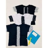 Шкільна блузка з мереживом для дівчинки