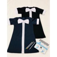 Школьное платье с коротким рукавом и манжетами