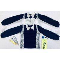 Школьная блузка с кружевом и длинным рукавом