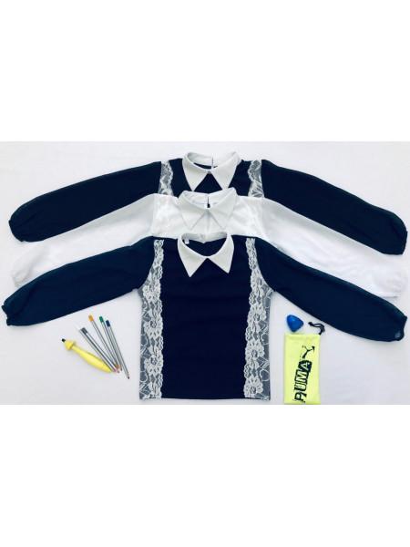 Шкільна блузка з мереживом і довгим рукавом