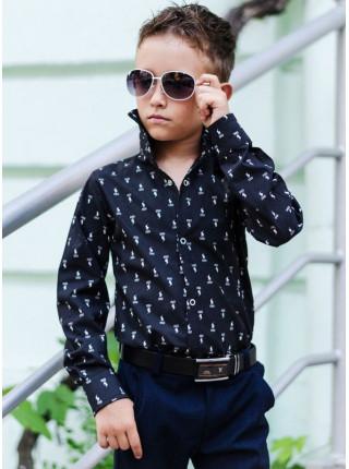 Модная школьная рубашка на кнопках для мальчика
