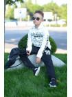 Трикотажний спортивний костюм з принтом для хлопчика