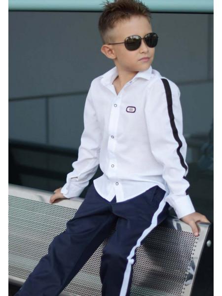 Рубашка на кнопках для мальчика с лампасами
