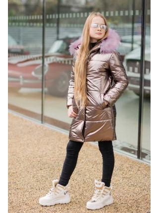 Детская зимняя куртка для девочки Металлик