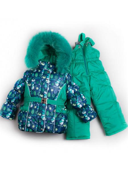 Зимовий костюм з комбінезоном на овчині для дівчинки