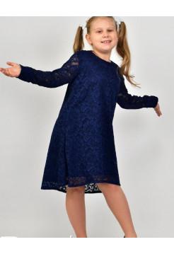 Дитяче нарядне гипюровое плаття із рукавом