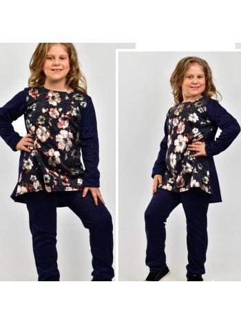 Стильный костюм для девочки с туникой в цветы