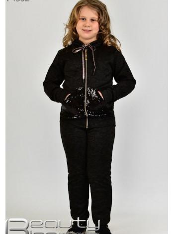 Черный спортивный костюм детский в пайетках