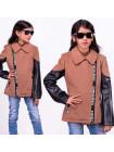 Пальто для девочки с кожаными рукавами