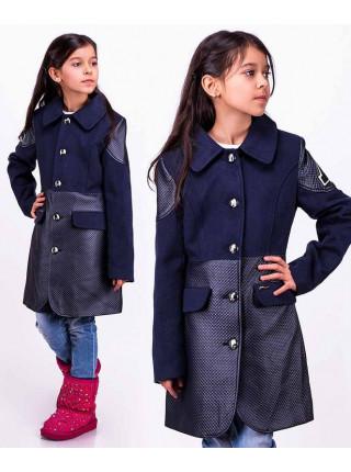 Детское пальто с кожаными вставками