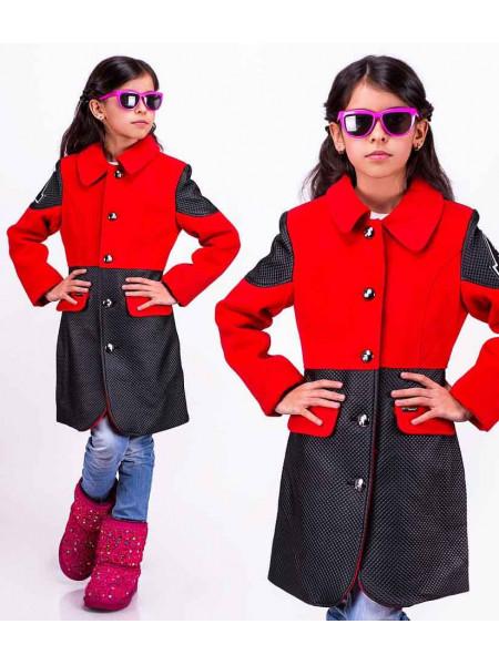 Дитяче пальто зі шкіряними вставками