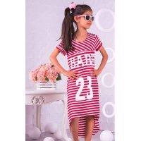 Летнее детское платье в полоску