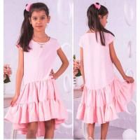 Летнее платье с воланом внизу для девочки