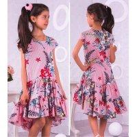 Плаття літнє в полоску з воланом для дівчаток
