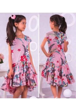 Платье летнее в полоску с воланом для девочек
