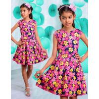 Дитяче джинсове плаття в квіточку