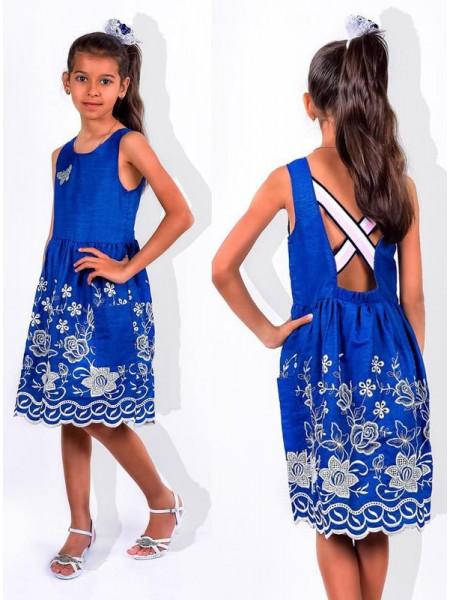 Дитяче джинсове плаття з відкритою спиною