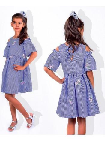Детское платье в полоску с открытыми плечами