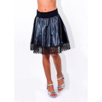 Школьная кожаная юбка на резинке для девочки