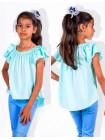 Летняя детская блузка с рюшами на рукавах