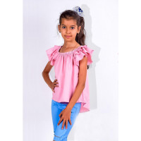 Літня дитяча блуза з рюшами на рукавах