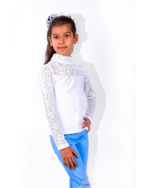 Белая водолазка детская с кружевом для девочки