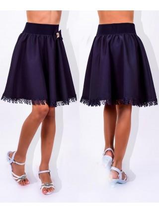 Школьная пышная юбка для девочки с бантиком
