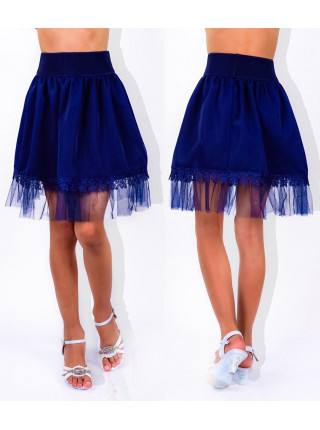Школьная синяя юбка с фатином для девочки
