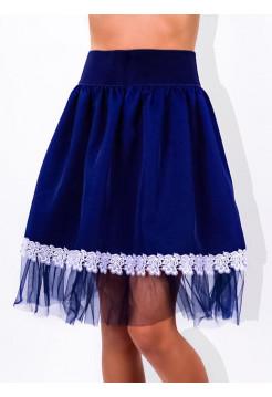 Шкільна синя спідниця з фатином для дівчинки