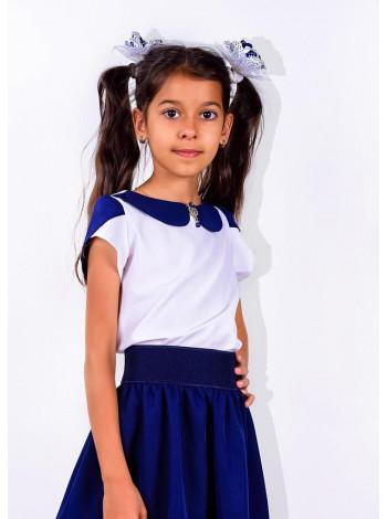 Шкільна блузка біла для дівчинки з коротким рукавом