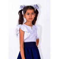 Біла шкільна блузка для дівчинки з коротким рукавом