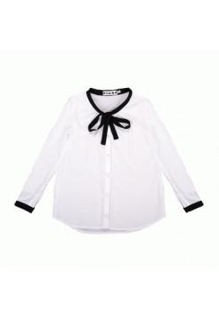 Белая школьная блузка с бантиком