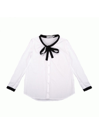 Біла шкільна блузка з бантиком