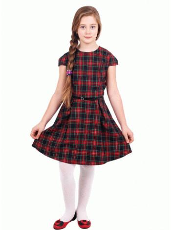 Школьное платье в клетку с коротким рукавом