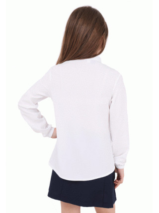 Белая школьная блузка с длинным рукавом