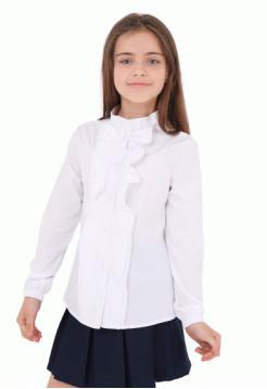 Біла шкільна блузка з довгим рукавом