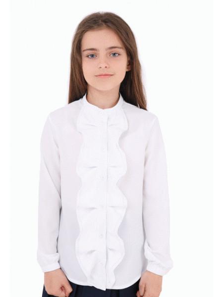 Блузка белая для девочки с длинным рукавом