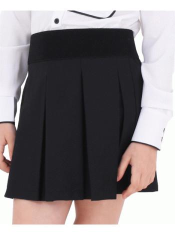 Школьная юбка синяя, черная на резинке