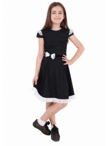Школьное платье с бантиком и коротким рукавом