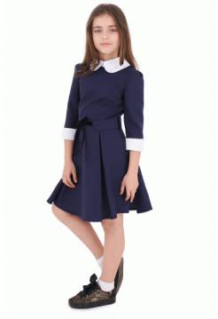 Школьное платье с белым воротничком и манжетами
