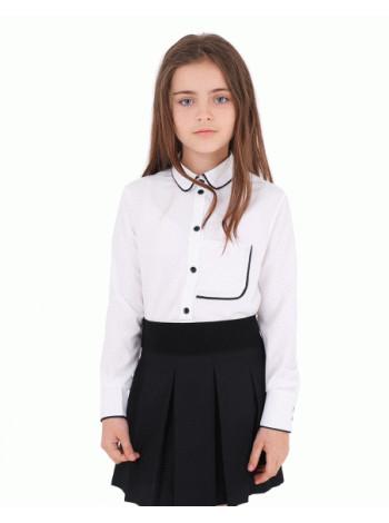 Блузка біла дитяча з довгим рукавом