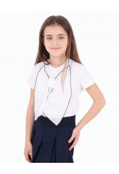 Блузка белая школьная с бантиком