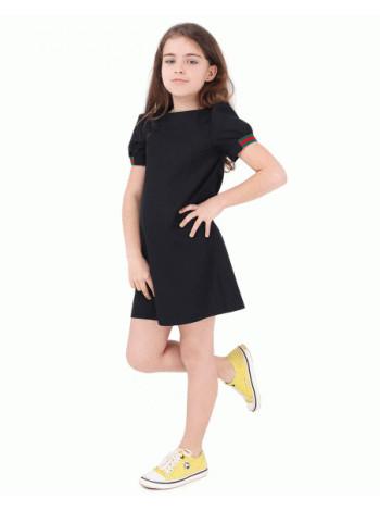 Школьное платье черное, синее с коротким рукавом