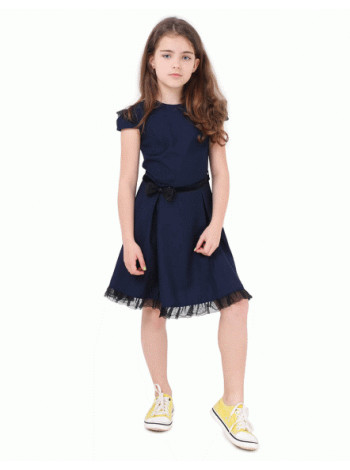 Стильное школьное платье синее и черное