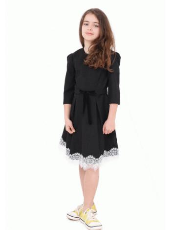 Шкільне недороге плаття з білим мереживом