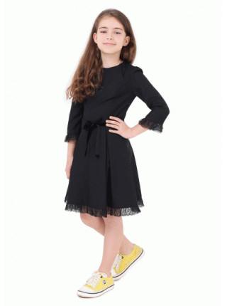 Модное платье школьное с кружевом