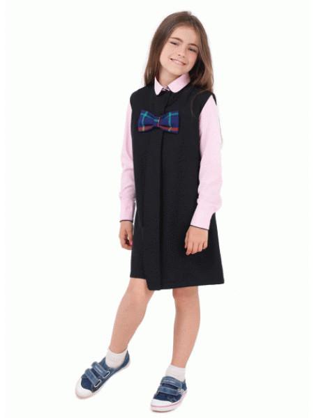 Сарафан школьный синий черный с бантиком