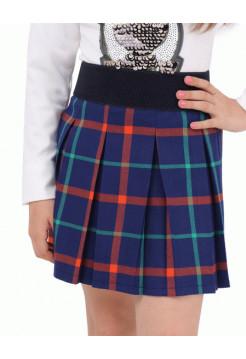 Школьная юбка в клетку с поясом на резинке