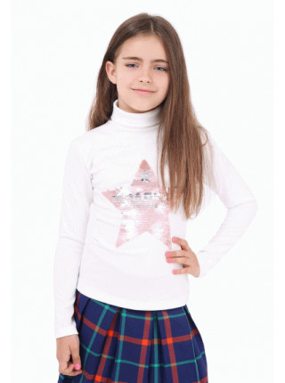 Біла водолазка для дівчинки з пайєткою